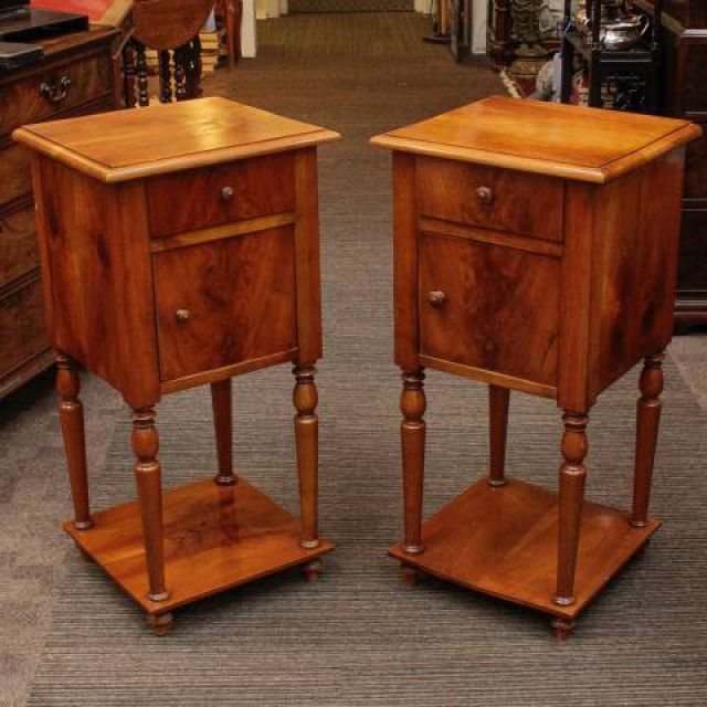 Pair Of Antique Cherrywood Bedside Cabinets